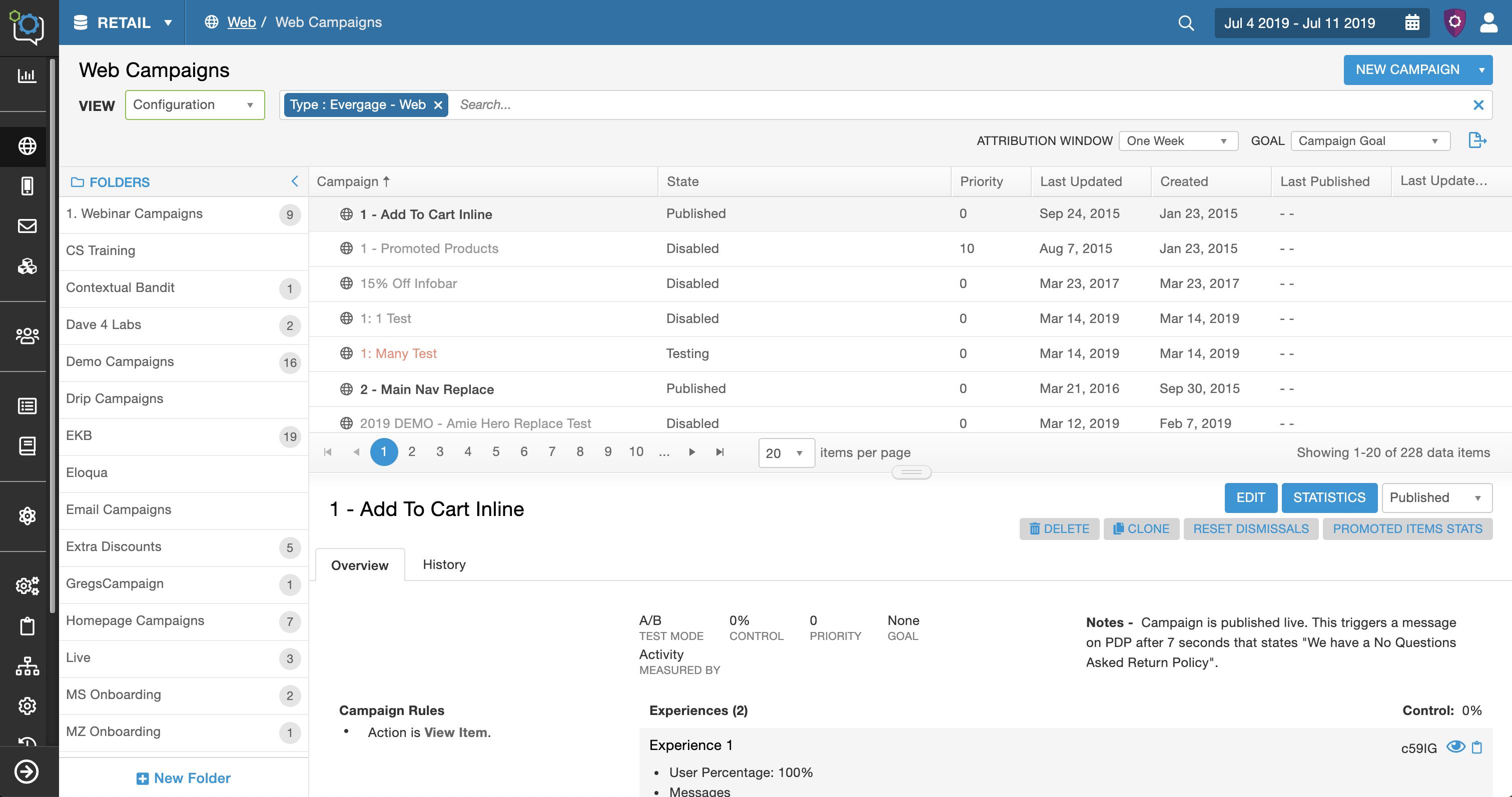 Campaign List Screen UI – Configuration