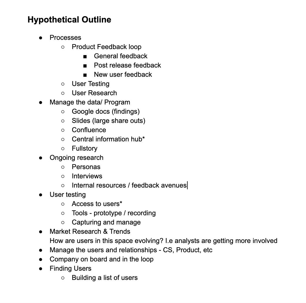 UXR Program – Hypothetical Outline