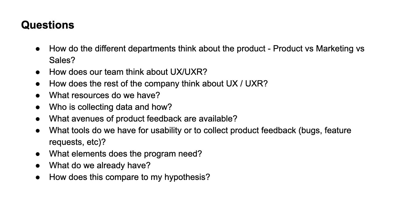 UXR Program Questions